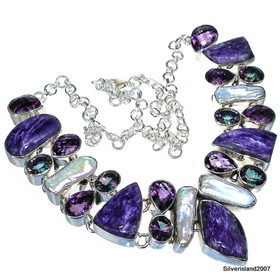 Massive Charoite Sterling Silver Necklace 20 inches long