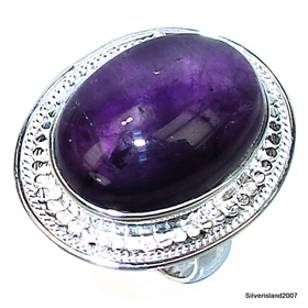 Large Royal Amethyst Sterling Silver  Ring size N 1/2