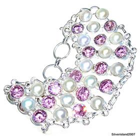 Large Pink Cubic Zirconia, Pearl Sterling Silver Bracelet