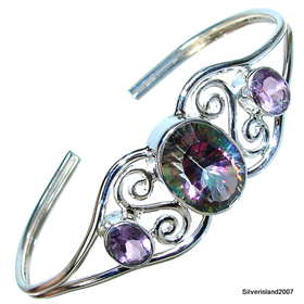 Incredible Mystic Topaz Sterling Silver Bangle
