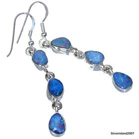 Fire Opal Sterling  Silver Earrings