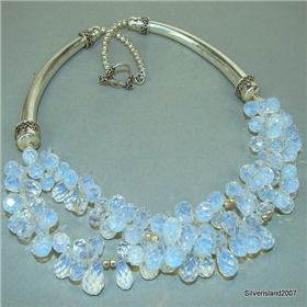 Massive Fire Opalite Sterling Silver Necklace 16 inches long