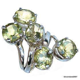 Huge Sunny Citrine Sterling Silver Ring size L 1/2