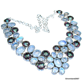Huge, Massive Mystic Topaz, Moonstone Sterling Silver Necklace 18 inches long