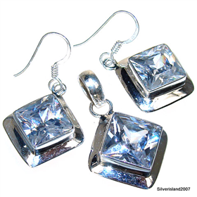 Incredible Cubic Zirconia Sterling Silver Set