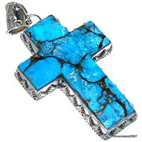 Giant Copper Turquoise Sterling Silver Pendant