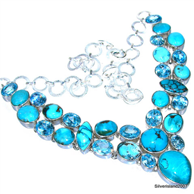 Massive Turquoise, Blue Topaz Sterling Silver Necklace