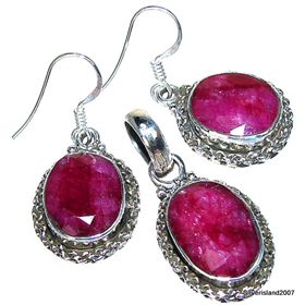 Royal Ruby Sterling Silver Set