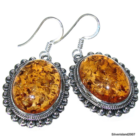 Honey Amber Sterling Silver Earrings
