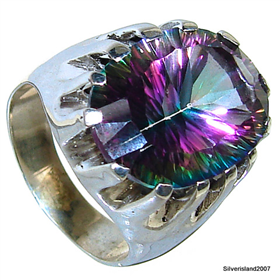 Mystic Topaz Sterling Silver Ring Jewellery size O