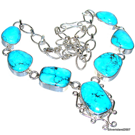 Splendid Turquoise Sterling Silver Necklace 20 inches long