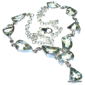Green Amethyst Sterling Silver Necklace 15 Inches Long