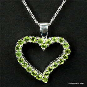 Finest Quality Green Cubic Zirconia Sterling Silver Pendant