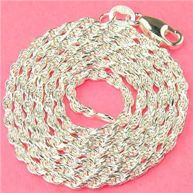 Rope Sterling Silver Chain 18 inches long