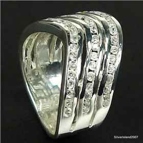 Stunning Cubic Zirconia Sterling Silver Ring size N