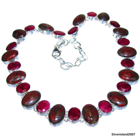 Royal Ruby Sterling Silver Necklace 18 inches long