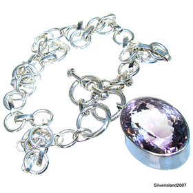 Royal Amethyst Sterling Silver Necklace 16 inches long