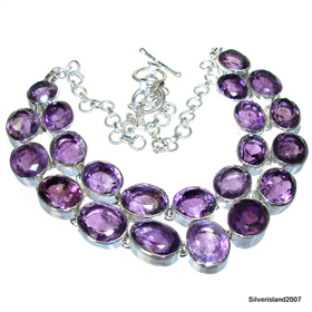 Massive Amethyst Sterling Silver Necklace 15 inches long
