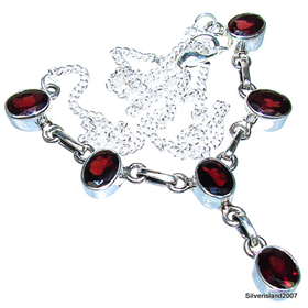 Royal Garnet Sterling Silver Necklace 17 inches long
