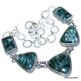Massive Seraphinite Sterling Silver Necklace 17 inches long