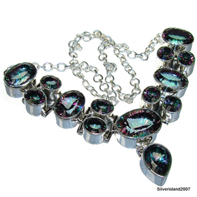 Huge, Massive Mystic Topaz Sterling Silver Necklace 18 1/2 inches long