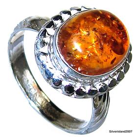 Honey Amber Sterling Silver Gemstone Ring size Q
