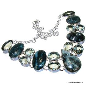 Massive Ocean Jasper, Green Amethyst Sterling Silver Necklace 19 Inches Long