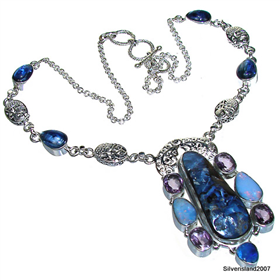 Stunning Boulder Opal, Kyanite, Amethyst Sterling Silver Necklace 16 inches long
