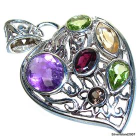 Unique Multigem Sterling Silver Pendant Jewellery