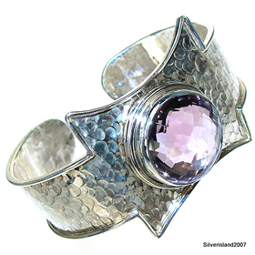 Incredible Design! Massive Amethyst Sterling Silver Bangle