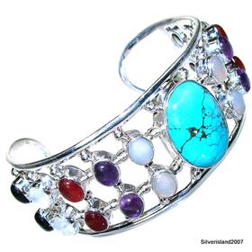Massive! Multigem Sterling Silver Bangle Jewellery