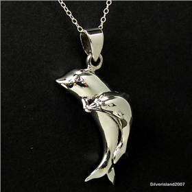 Large Dolphins Sterling Silver Pendant Jewellery