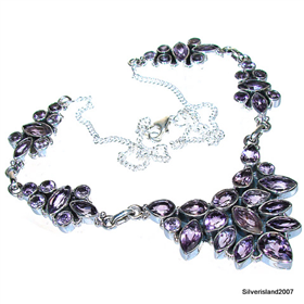 Royal Amethyst Sterling Silver Necklace 18 inches long