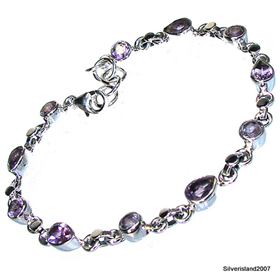 Incredible Design! Amethyst Sterling Silver Bracelet. Silver Gemstone Bracelet.