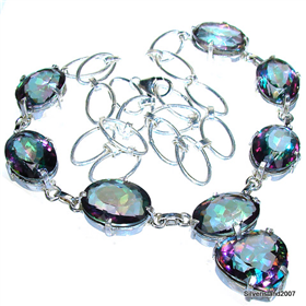Wonderful Mystic Topaz Sterling Silver Necklace 18 1/2 inches long
