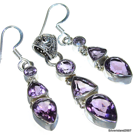Gorgeous Amethyst Sterling Silver Set