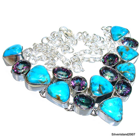 Splendid Turquoise,Mystic Topaz Sterling Silver Necklace 19 inches long