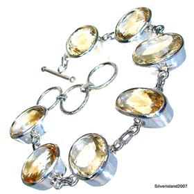 Massive Citrine Sterling Silver Bracelet