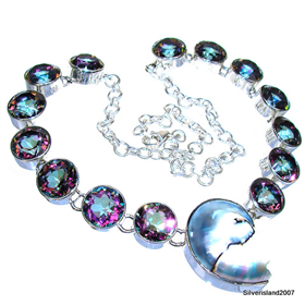 Massive Mystic Topaz Sterling Silver Necklace 19 inches long