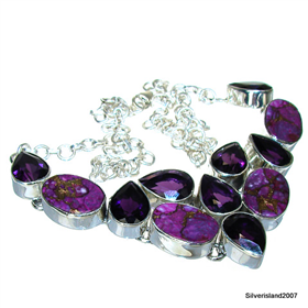 Copper Turquoise, Amethyst Sterling Silver Necklace 18 inches long