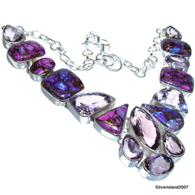 Massive Amethyst Sterling Silver Necklace 16 inches long