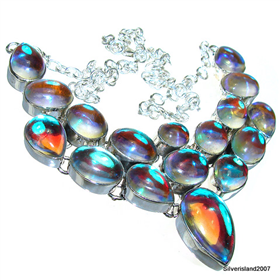 Madagascar Fire Quartz Sterling Silver Necklace lenght 19 inches