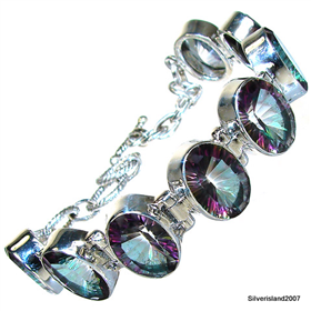 Incredible Mystic Topaz Sterling Silver Bracelet