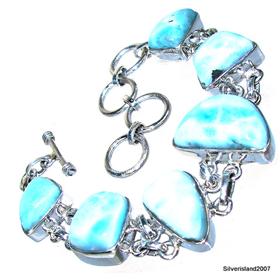 Large Charming Larimar  Sterling Silver Bracelet