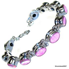 Stunning Pink Fire Opal Sterling Silver Bracelet