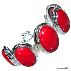 Massive Red Coral Sterling Silver Bracelet