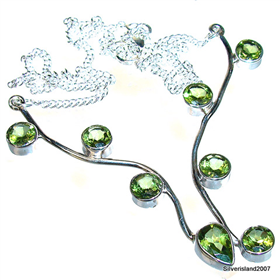 Elegant Peridot Sterling Silver Necklace 16 1/2 inches long