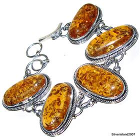 Chunky Honey Amber  925 Silver Bracelet Jewellery