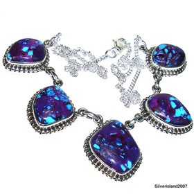Purple Turquoise  925 Silver Necklace 18 inches long