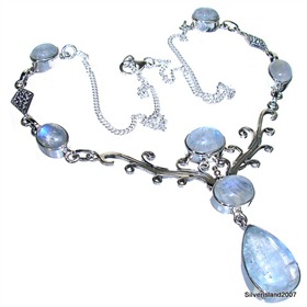 Elegant Moonstone Sterling Silver Necklace Jewellery 17 inches long
